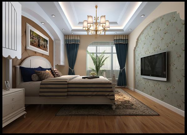 主卧:首先印入眼帘的就是拱形窗来塑造室外的景中窗,选用蓝色窗帘的搭配,在走动中观赏,出现一种延伸般的透视感。床头两个储物吊柜实用又美观。