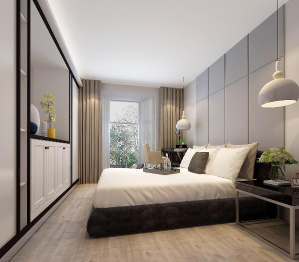 主卧室:定制家具同时实现衣柜兼电视柜的功能,床头吊灯及衣柜上方的灯带照明取代卧室主灯,灯光使用更合理及富有情调。床头背景软包设计增加使用的舒适感。