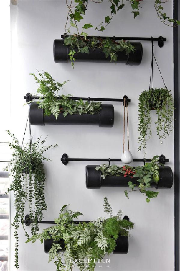 看似普通的pvc管,经过喷漆处理后,改造成植物生长的器皿。有限的空间,也因为悬挂设计和参差感排列,变成美丽的立体花园。