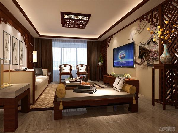 在本方案中,背景墙颜色以中式墙绘为主,彰显高雅的品质。材质多以木为主,沙发是白色木制沙发,增加空间韵味。