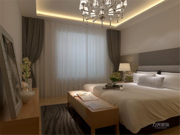 在卧室的设计中,同样我们采用了木色的木地板与木色家具相结合,木色的衣柜配搭灰色系的双人床使偏冷色系的空间有了少许温暖和亲切。
