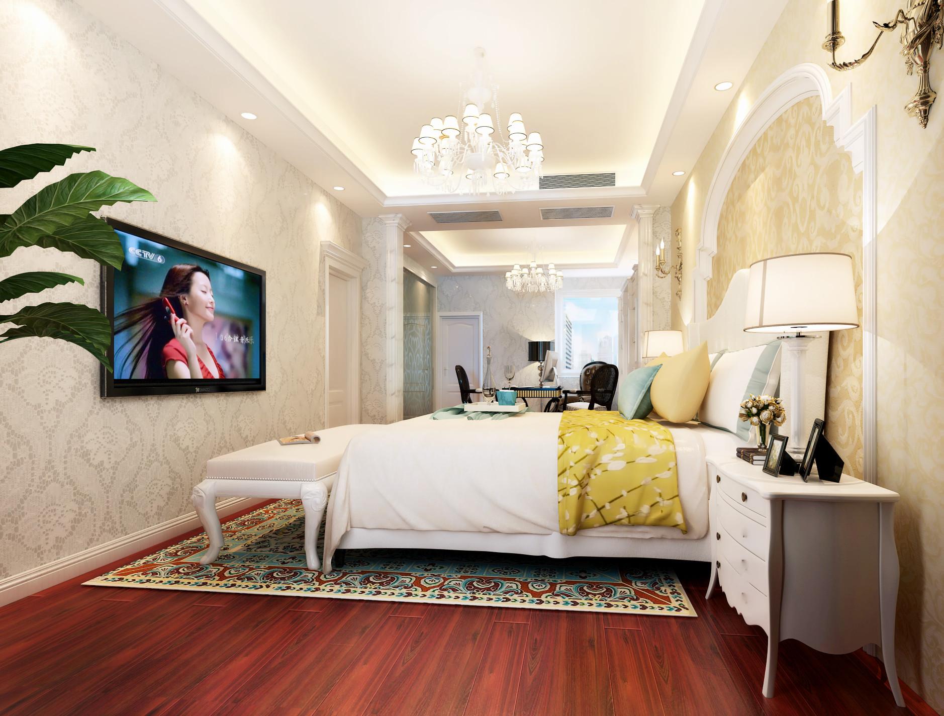 别墅 旧房改造 小资 收纳 白领 混搭 简约 田园 三居 卧室图片来自北京居然元洲装饰在牛驼孔雀城230平简欧混搭风格的分享