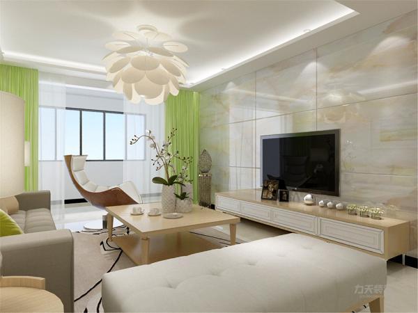 在电视背景墙的装饰上,我们采用了文化石装饰背景墙,表现了一种清新气息感,沙发采用布艺的图案造型,加褐色地毯让整个空间出现了亮点。