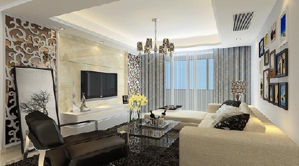 现代简约风、两居室时尚前卫客厅效果