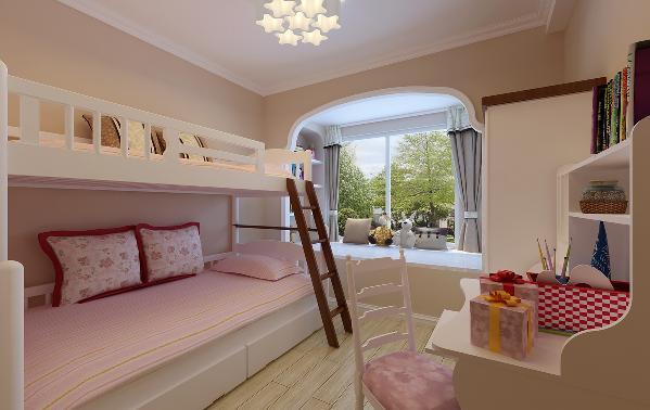 女儿房:原有飘窗结构占用了室内较大的空间,利用两侧的墙面做收纳衣物及玩具的置物架。垭口的造型修饰与美式的儿童家具形成呼应,软装的搭配营造儿童房应有的活泼温馨。