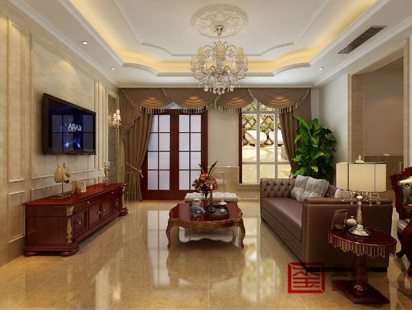 负一厅 欧式客厅非常需要用家具和软装饰来营造整体效果。深色的橡木或枫木家具,色彩鲜艳的布艺沙发,都是欧式客厅里的主角。