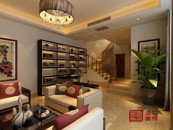 负一层厅 简洁和实用是现代简约风格的基本特点。加上传统的中式风格让人感觉舒适和恬静