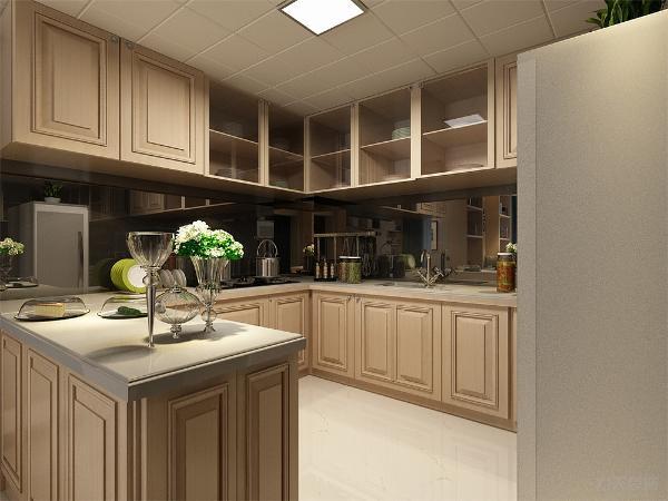 木色橱柜的选用让厨房空间也显得更加高档, 瓷砖的铺贴方式我们错开了本来的缝隙,显得更加活泼。