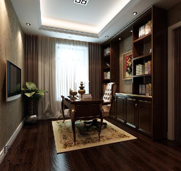 似不大的书房却处处展现着设计的亮点,贴墙的书柜和转角的桌子实现最大化利用空间,同时格子又增加空间收纳,提高空间的立体感。