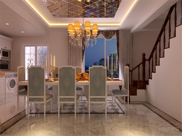 在餐厅的设计中,采用了白色系的餐桌椅搭配白净的开放式厨房。白色和明亮玻璃的结合创造出了现代的洁净与明亮。