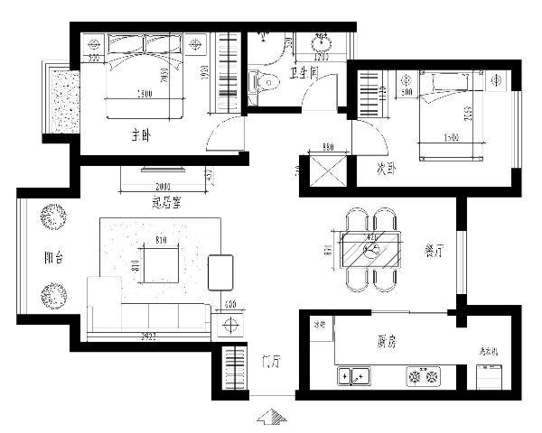 简约风格整体家装89平户型图