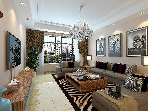 灰色柔性、舒适的沙发组合,有效地建立起家的温情暖意。三幅由黑白欧式建筑构成的装饰画,为客厅带来绵绵的文化气息。