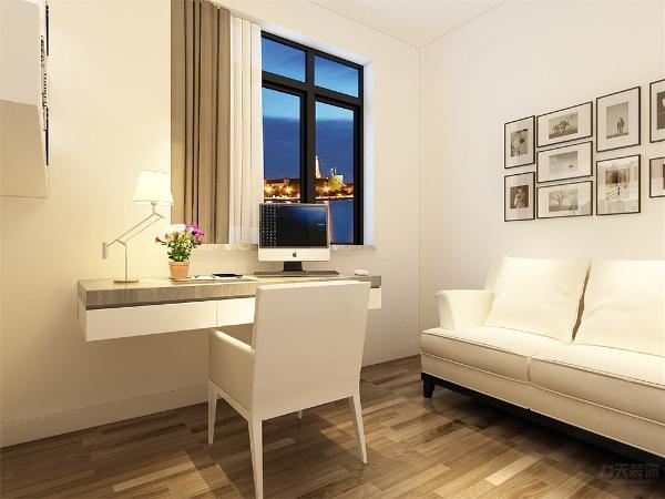 沙发背景墙采用的是装饰挂画使背景墙更富有生气。在餐厅的设计中,采用了木色系的餐桌椅搭配白净的简约屏风。