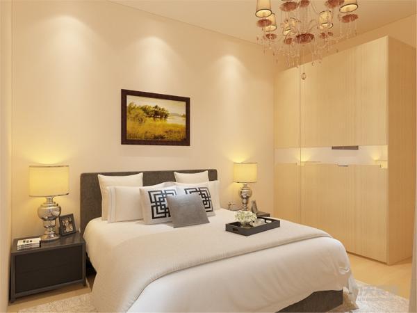 在卧室的设计中,同样我们采用了木色的木地板与褐色地毯相结合,木色的衣柜配搭白色系的双人床使偏冷色系的空间有了少许温暖和亲切,地板采用的是实木复合地板具有防滑的功效,整个空间也是多采用简洁明朗的线条