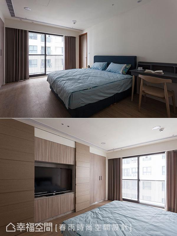 不多加缀饰的简约设计,以特殊质感板材带出空间主题,并于衣柜墙外增设木皮拉门,可遮掩电视化解风水问题。