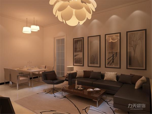 在电视背景墙的装饰上,我们采用了石膏板拉缝和石膏线圈边装饰背景墙,表现了一种清新气息感,沙发采用布艺的图案造型,加褐色地毯让整个空间出现了亮点。
