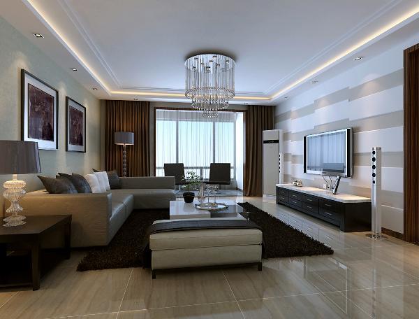 客厅:客厅是整个家居布置中的重点,设计时充分考虑到室内与室外空间的交流,因势利导地的设想;电视背景利用错落线条完成整个空间导向;