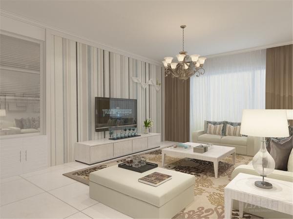 在电视背景墙的装饰上,我们采用了竖条壁纸和异形栅格装饰背景墙,表现了一种清新气息感,沙发采用粗布的造型,加褐色地毯让整个空间出现了亮点。