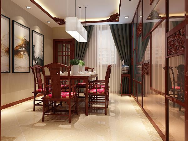 餐厅:墙面采用镜面材质的处理手法达到延伸空间的效果,顶面采用和客厅一样的装饰手法使整体空间保持一致性,体现大气、奢华但不夸张的设计效果