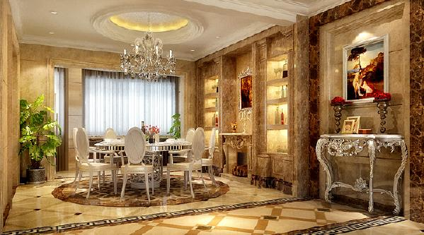 旺海公府 124平米-简欧风格装修餐厅