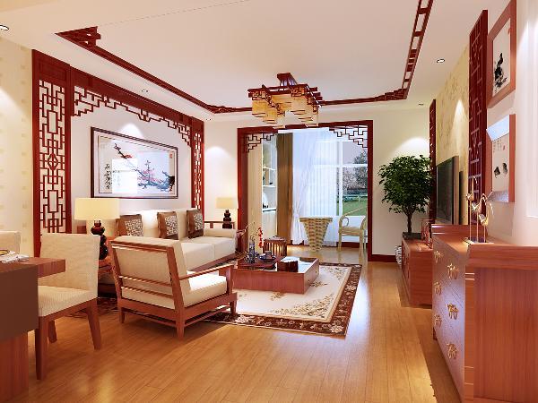 客厅区域:地面用樱桃桃木色的地板,墙面与顶面采用了中式木格与壁纸
