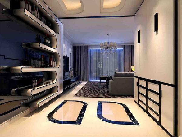 自成一格的客厅,在精心营造的灯光氛围中焕发出时尚魅力。左侧展示墙柜也成为空间主角,而右墙洗白的设计搭配间接光源及姿态优美的植栽,又显出另一番宁静美感,整个客厅展现出小而精致的不俗品味。