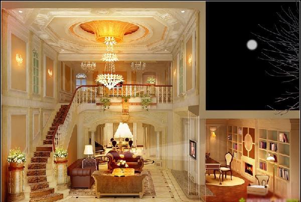客厅:客厅的跳空和吊顶/还有墙面的欧式线条/大而漂亮的水晶灯把整个客厅的奢华体现的淋漓尽致,电视墙那面色调以暖色调为主,细致清新。
