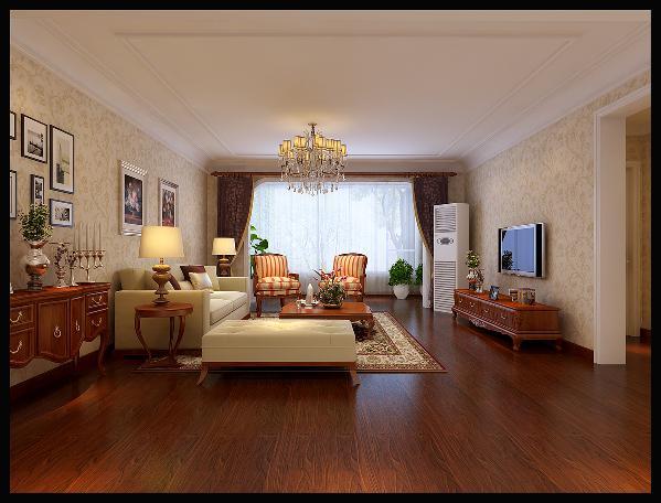 客厅:客厅的吊顶顶角和墙面用弧形过渡,用石膏线条作为收口,既有层次感又简洁大方,墙面整体采用壁纸增加了空间的装饰感。