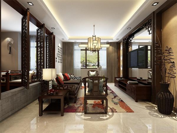 客厅我们在设计上选择了米白色的颜色,地砖的采用使得材质更加丰富,使用了木质罗汉椅 在配色上显得更加大方华贵。