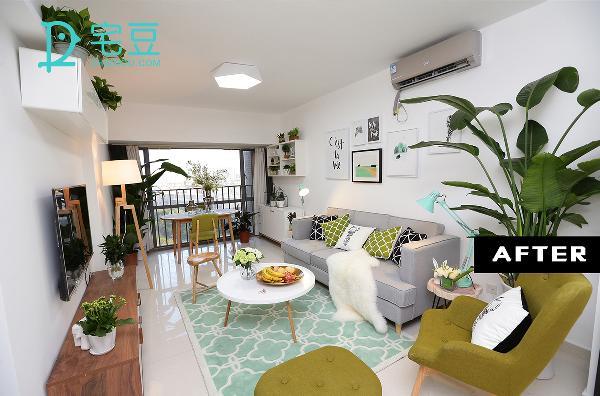 改造后,改造后将空间划分为客厅和餐厅,通过用浅色调的家居达到为空间增加明亮度,营造清爽的效果,灰色与深浅不一的绿色搭配出清新的自然感