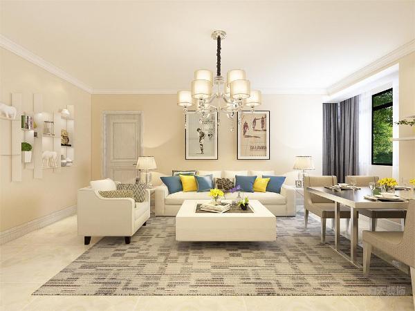 在电视背景墙的装饰上,我们采用极简的风格,摆架进行装饰,表现了一种现代气息感,沙发采用的是白色系列。配搭格灰花纹地毯,窗帘结合家具的颜色为浅灰色,墙面运用的是奶咖色。