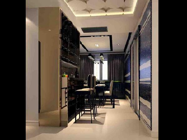 从门厅通往餐厅进入厨房玻璃隔门,镶嵌着黑红相间的马赛克,既为展示平台,石材与玻璃的结合也成就美妙整体装饰。风格以时尚冷调定义,没有一分累赘装饰,简单线条利落地勾勒出都会新贵的时尚品味。