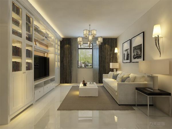 客厅我们在设计上选择了全屋的黄色乳胶漆,客厅电视背景墙是组合电视柜,显示了住户的博学, 在配色上显得更加大方华贵。 让空间调高显得更高更大,充分体现了我们简约而不简单的设计理念与生活理念