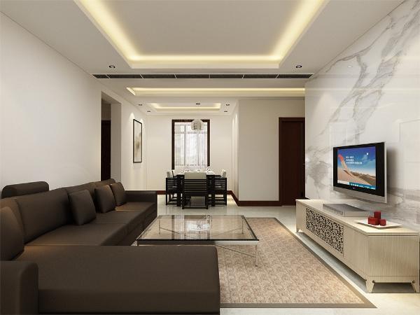 客厅电视背景墙用白色花纹瓷砖装饰,与正常墙面产生对比性,使空间严肃整洁。其他墙面通刷乳胶漆。简单大方。家具与整体深浅对比协调统一,营造出温馨典雅的气氛。