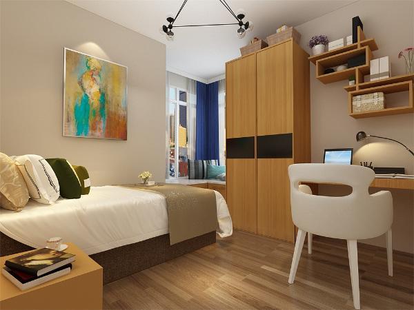 次卧室也是放置了一个单人床和床头柜,一个衣柜和一个学习桌。