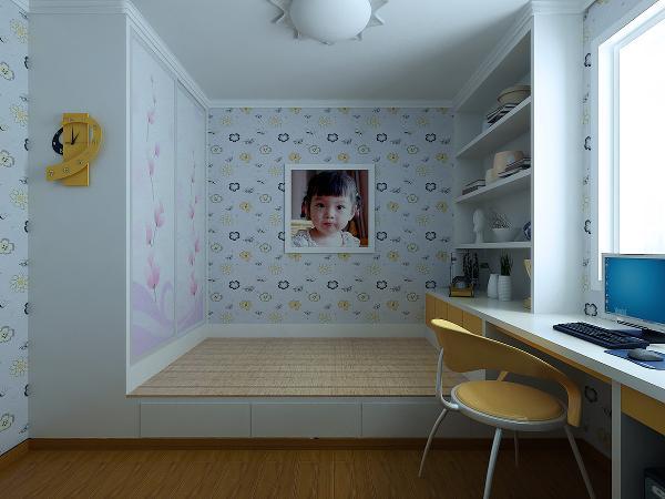 次卧室:次卧室设置了一个工作区域,书架和写字桌的组合,既满足了居住,有满足了工作空间。