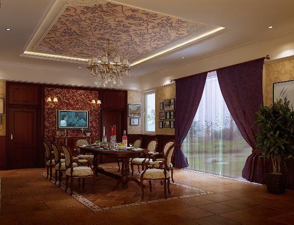 深色餐桌搭配欧式风格的吊顶,既沉稳又奢华,韵味独特。