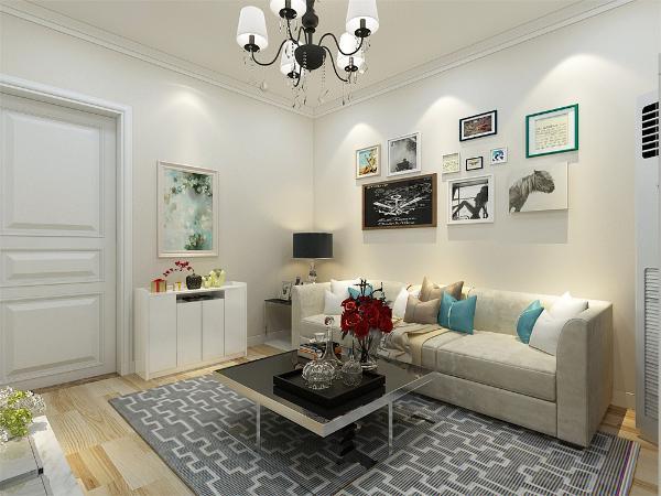 入户即为客厅,客厅电视背景墙和卧室的床头背景墙为浅色壁纸; 沙发背景墙布置有照片墙,体现简约不简单的艺术品位;