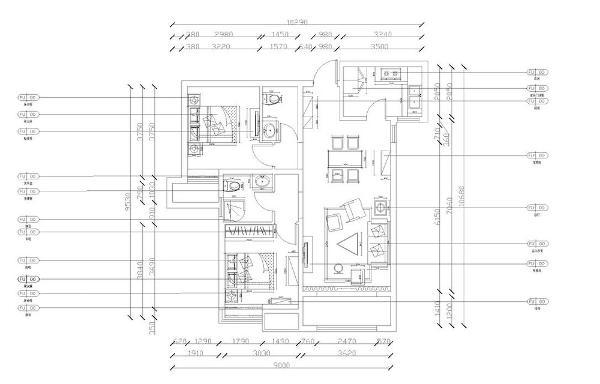 入顺时针方向分别为厨房,餐厅,客厅,主卧,卫生间,次卧,储藏室。
