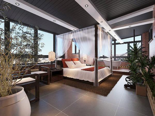 主卧室:将自然与尊贵带入居者的私人领地,最大化强调私属的尊享。将怀旧的浪漫情怀与现代人对生活夫人需求相结合,兼容华贵与典雅,将现代东南亚进行完美演绎。