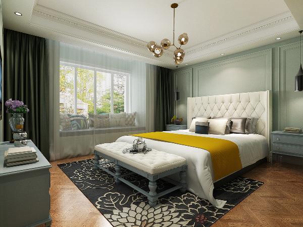 主卧室:相比于活泼跳跃的客厅,卧室则显得十分宁静,将自然与尊贵带入居者的私人领地,兼容华贵与典雅。