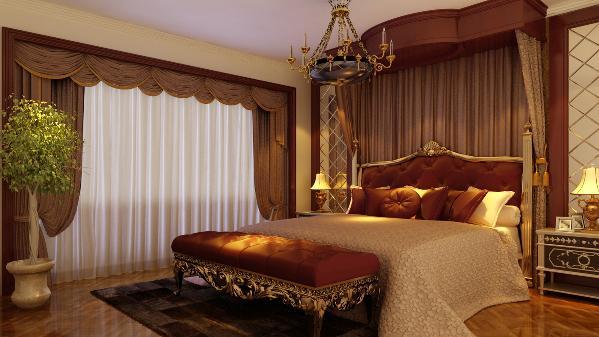主卧以深色为主皮质的软床,与整体风格相呼应