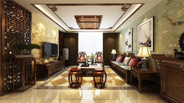 一进入户门左侧便是客厅的位置厅的设计只是做了简单的处理,沙发背景墙采用的是十分浓烈的中国画并配有壁纸,简单朴素,格调高雅。电视背景墙同样是采用中国花样的电视柜和背景造型,整个空间相呼应,相互协调。