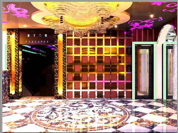 通道:墙顶连通灯光与镜面构成时空隧道,地面理石拼花。