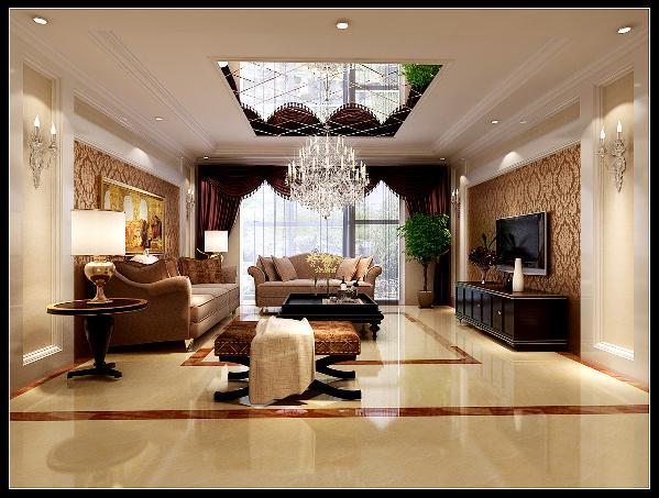客厅:电视背景和沙发背景都运用了木质线条和壁纸的搭配,前后有呼应。顶面运用了镜面,增加了空间的现代感和装饰感,也让空间更通透。