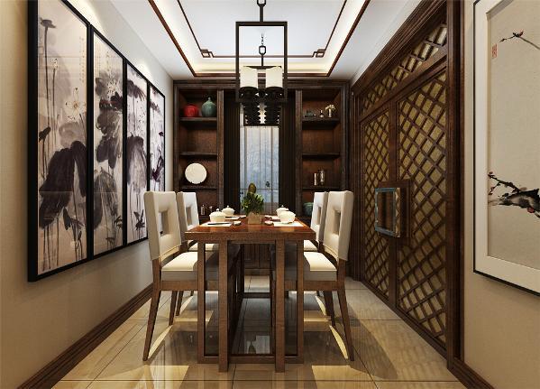 餐厅位置宽敞,并配有中国风挂画,同样的显示出业主的品味与个性。