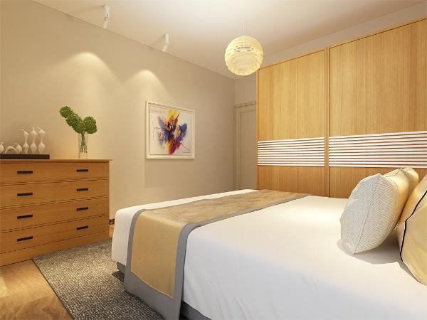 主卧室简单的放置了一个双人床和床头柜,一个衣柜以及一个储物柜,简单大方。