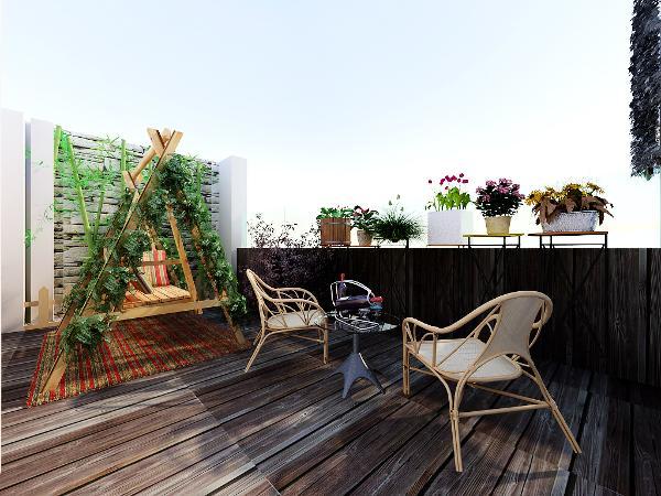 露台:花架,防腐木铺地面,原生态