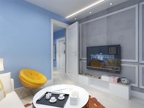 客厅出没有窗户,简单的小型沙发,茶几和石膏线背景墙,天蓝色的墙面是图片