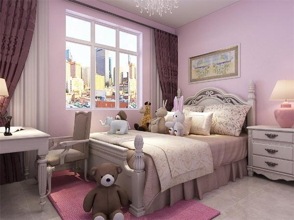 次卧是女儿房,所以采用粉红色这种暖色调,这种色调更适合女孩心理上的健康成长。